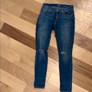7 for all mankind  jeans 25 w/ rips at knees
